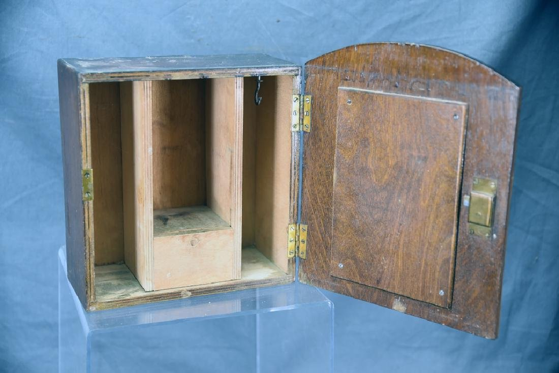 Small Oak Shaving Cabinet with Oval Mirror - 2