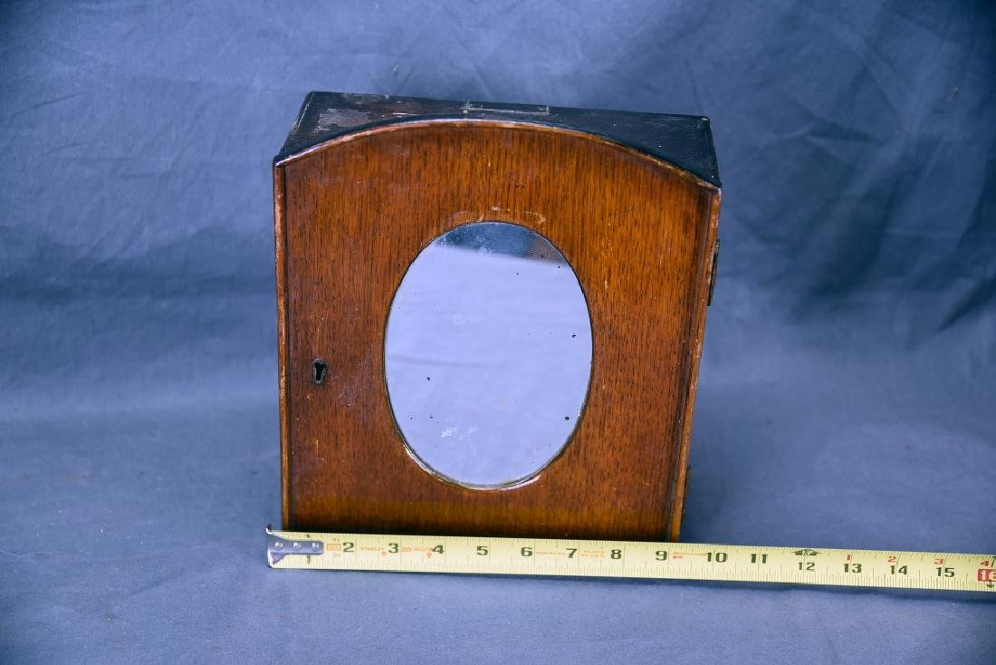 Small Oak Shaving Cabinet with Oval Mirror - 3