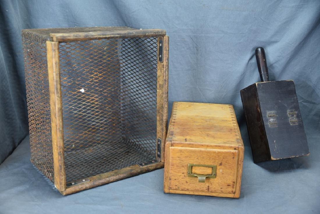 Voting Box, Oak Card File, Metal & Oak Parts Crate
