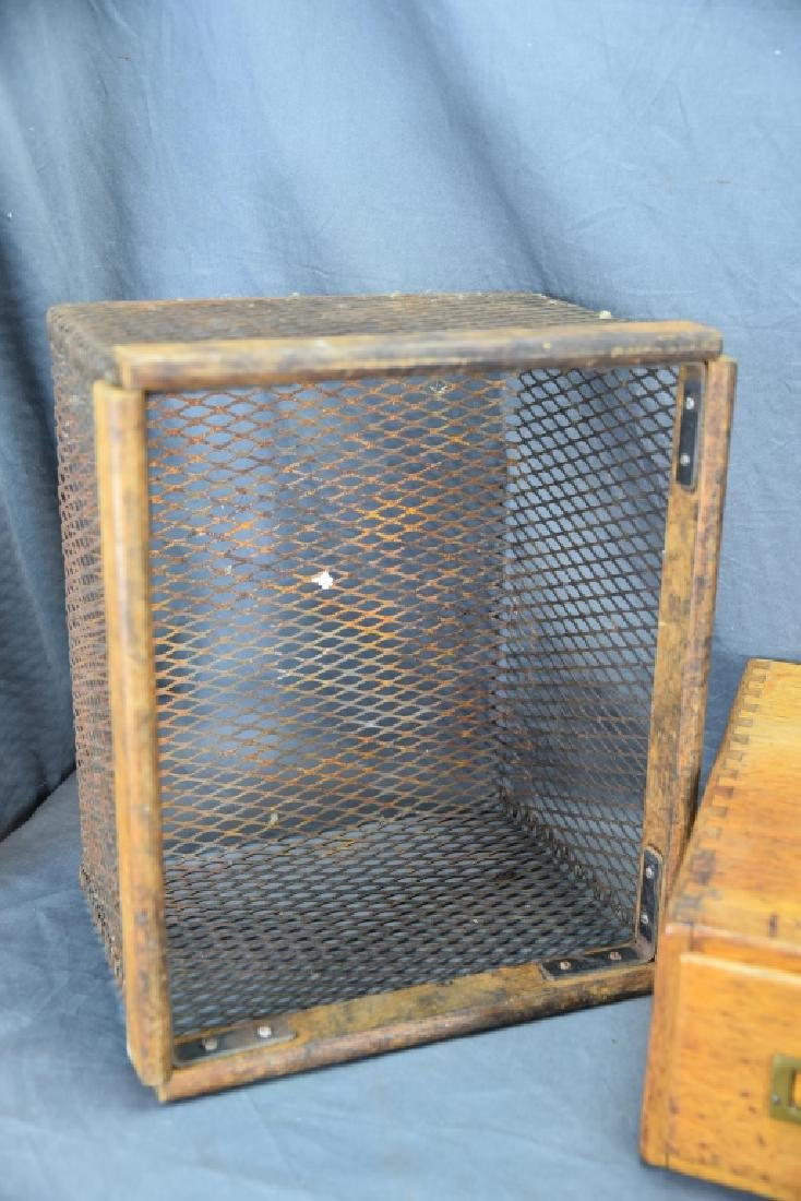 Voting Box, Oak Card File, Metal & Oak Parts Crate - 2