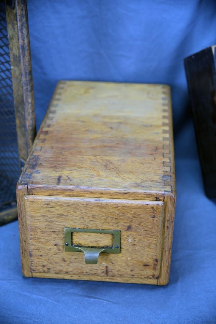 Voting Box, Oak Card File, Metal & Oak Parts Crate - 3
