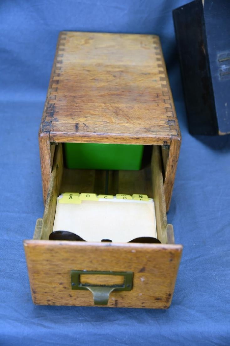 Voting Box, Oak Card File, Metal & Oak Parts Crate - 4