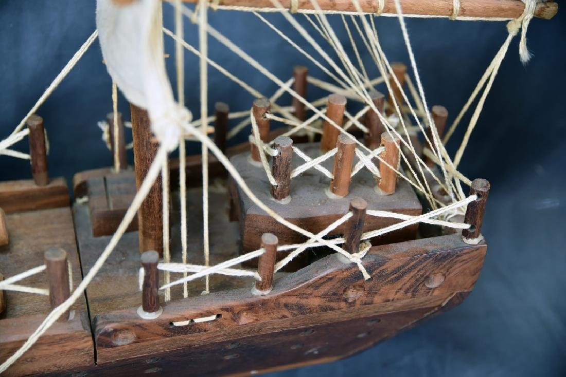 Wooden and Canvas Model Ship - 10