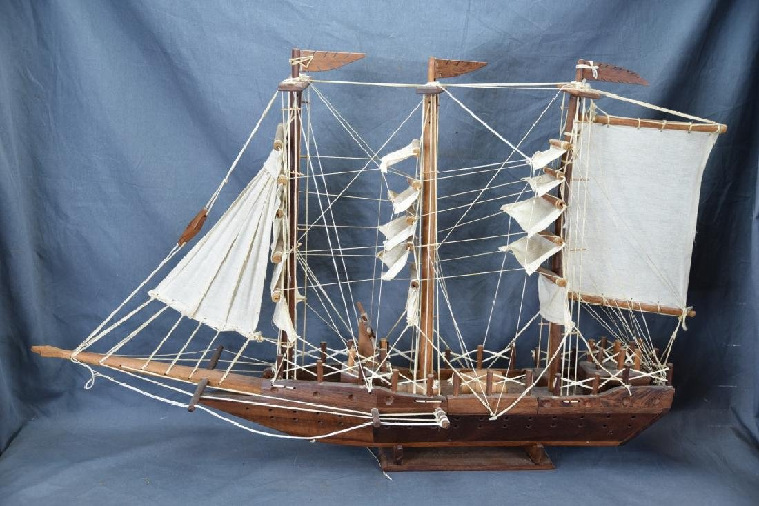 Wooden and Canvas Model Ship