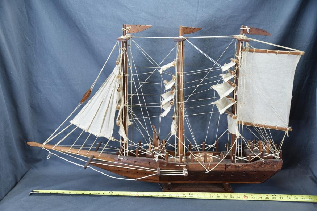 Wooden and Canvas Model Ship - 2
