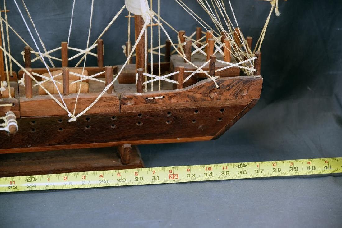 Wooden and Canvas Model Ship - 3