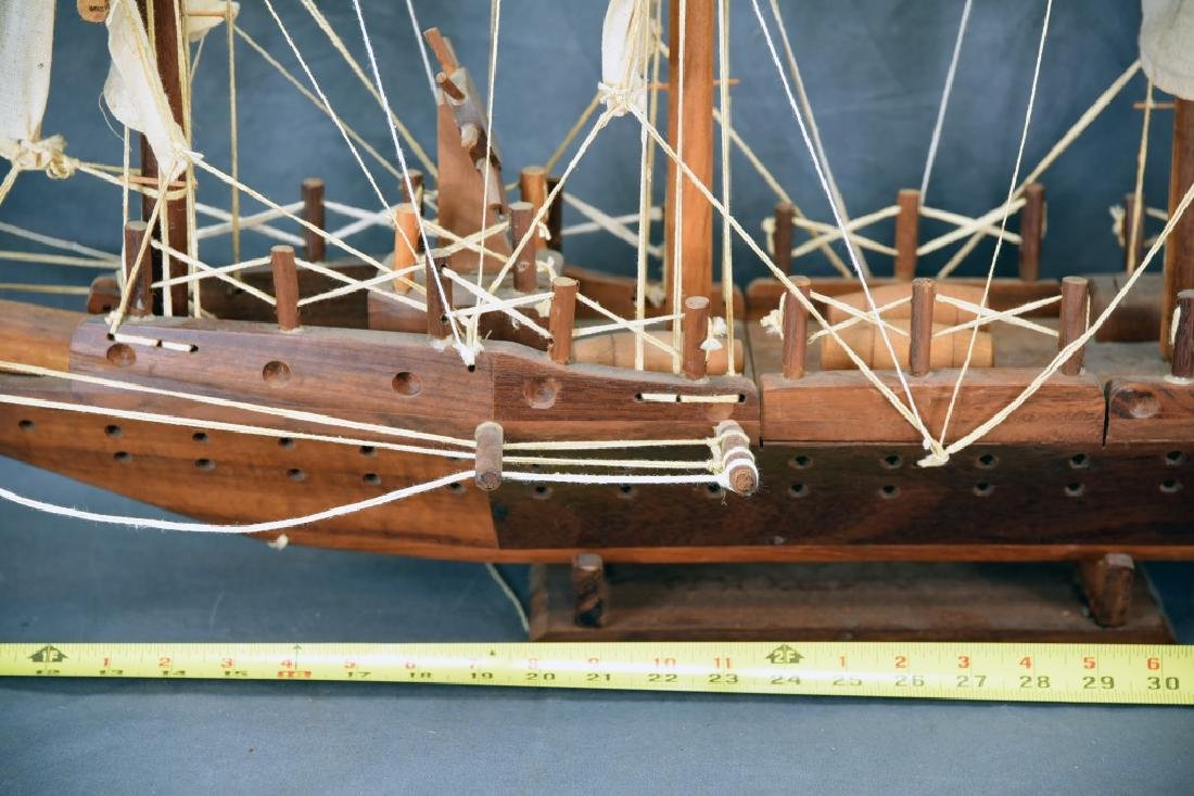 Wooden and Canvas Model Ship - 4