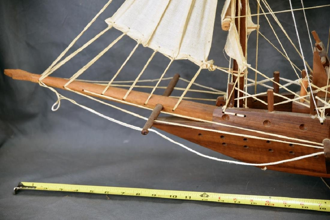 Wooden and Canvas Model Ship - 5