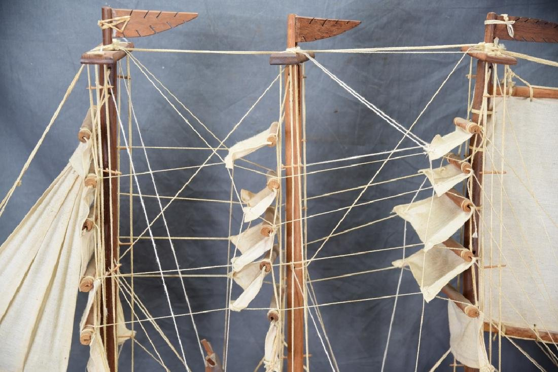 Wooden and Canvas Model Ship - 6