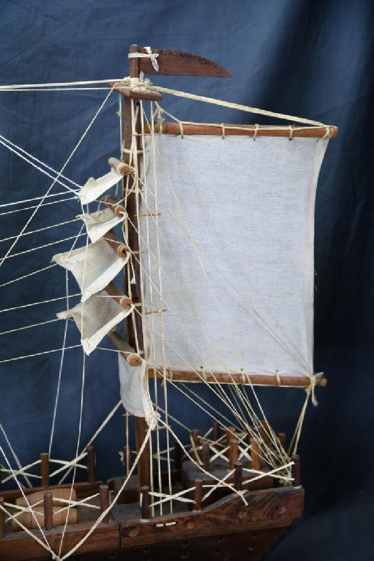 Wooden and Canvas Model Ship - 7