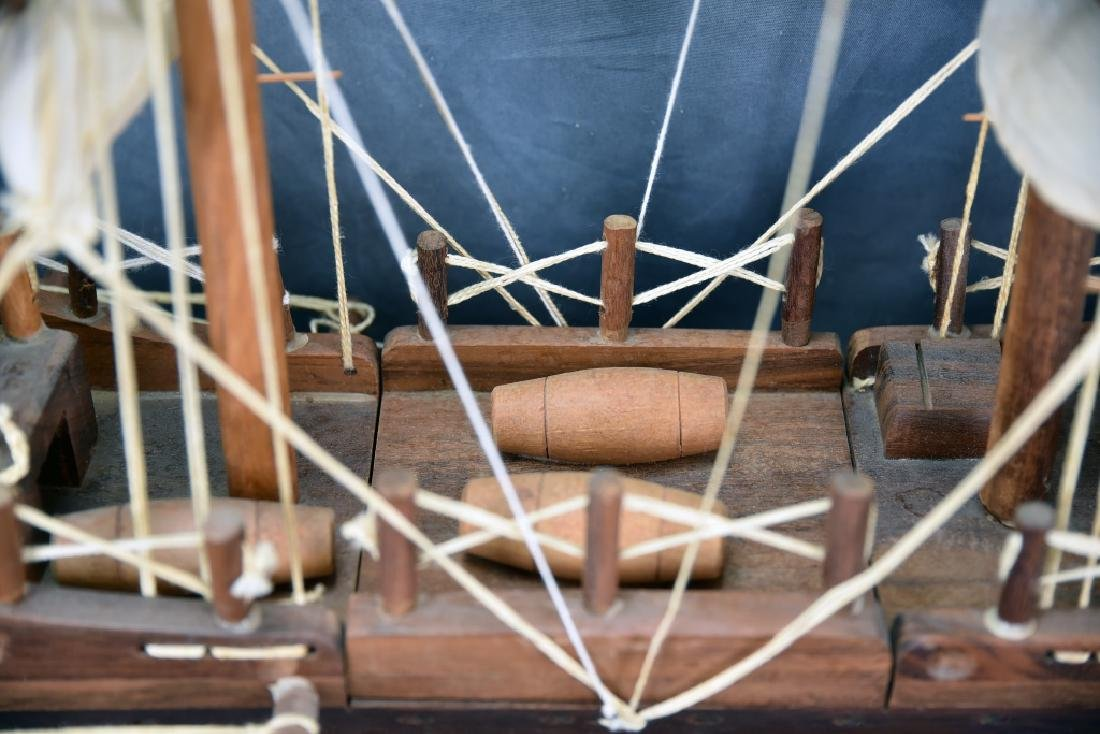 Wooden and Canvas Model Ship - 9