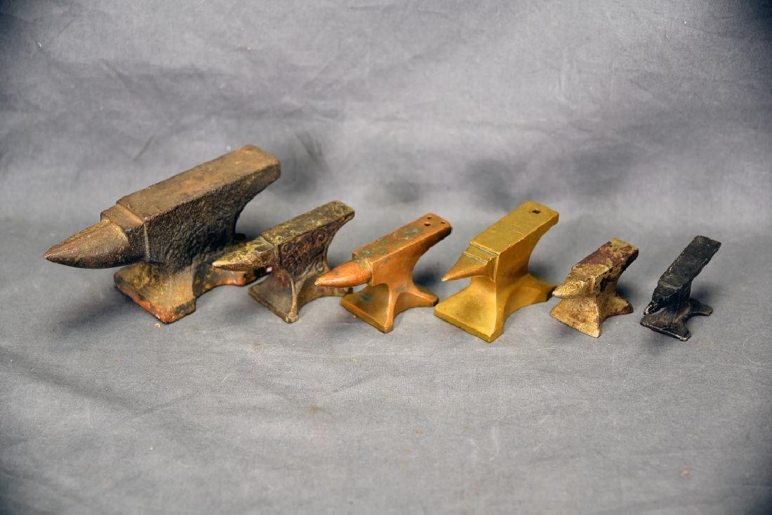 6 Small Anvils, Iron, Brass, Bronze