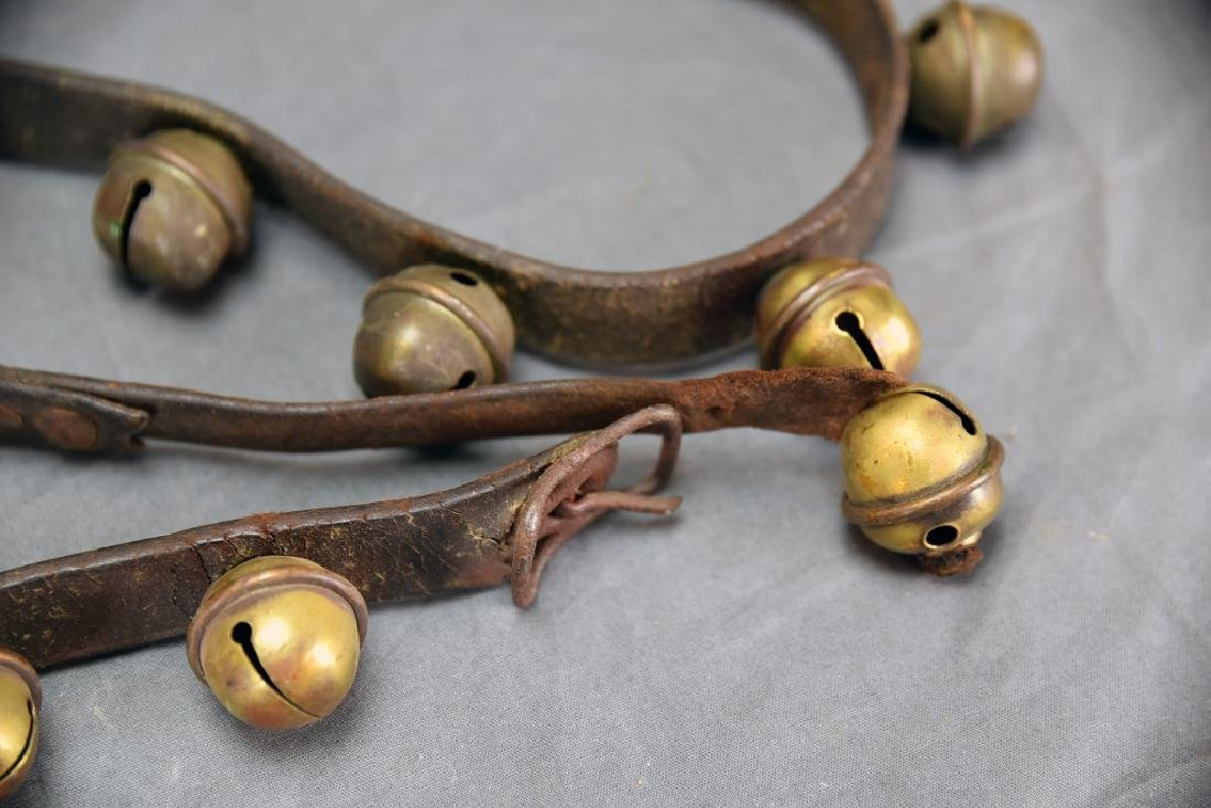 29 Brass Sleigh Bells on Original Leather Strap - 3