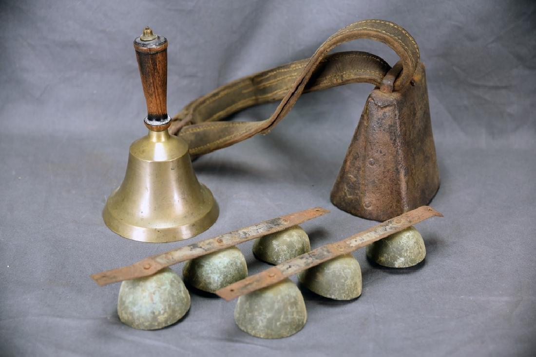 4 Antique Bells, School & Cow Bell, Harness Bells