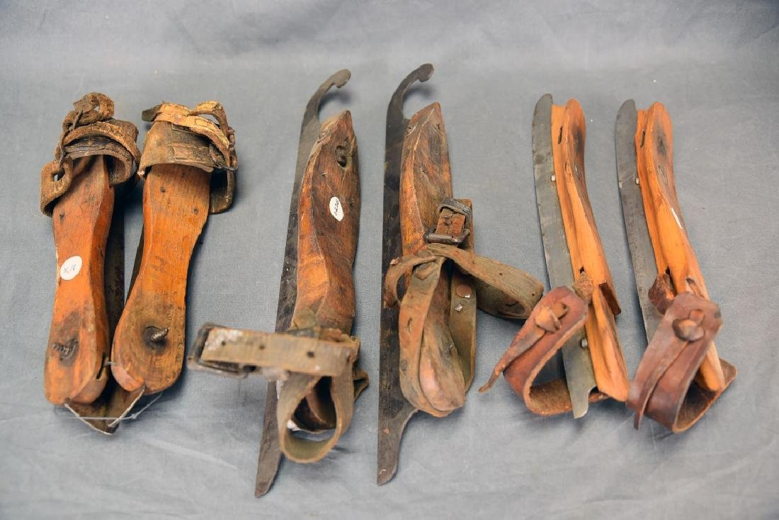 3 Pairs Victorian Wood, Iron Leather Ice Skates