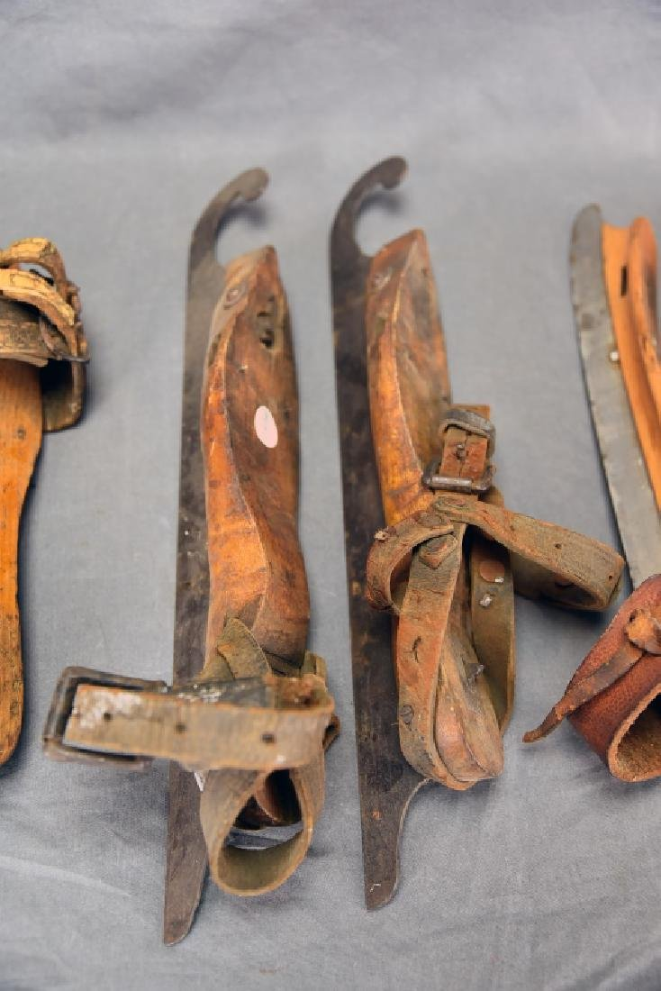 3 Pairs Victorian Wood, Iron Leather Ice Skates - 3