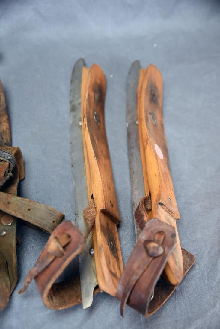 3 Pairs Victorian Wood, Iron Leather Ice Skates - 4