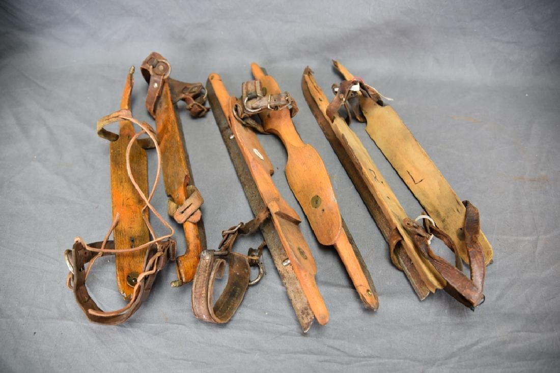 3 Pr. Antique Wood & Iron Racing Ice Skates