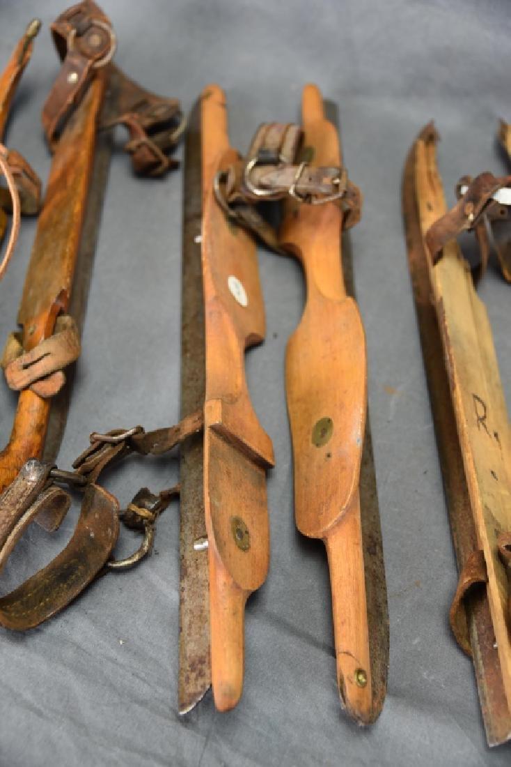 3 Pr. Antique Wood & Iron Racing Ice Skates - 3