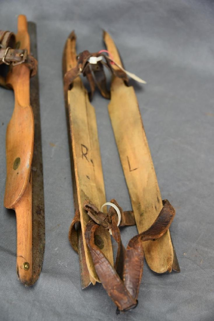 3 Pr. Antique Wood & Iron Racing Ice Skates - 4