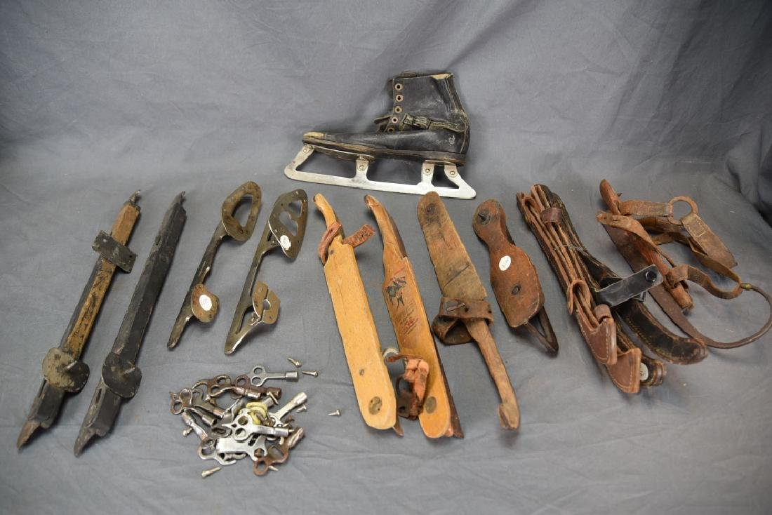 10 Antique Single Ice Skates and 14 Skate Keys