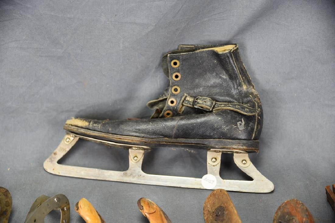 10 Antique Single Ice Skates and 14 Skate Keys - 6