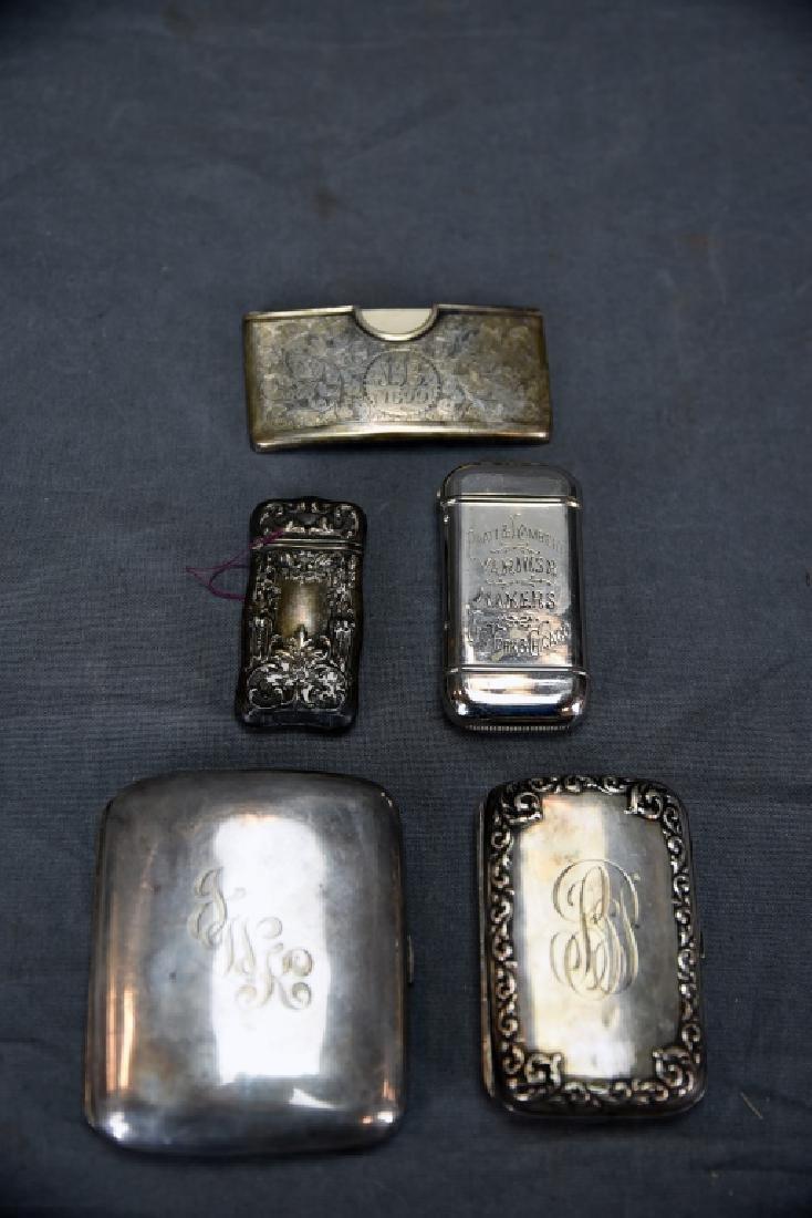 4 Sterling Cases, 2 Cigarette, 1 card, 1 Vesta