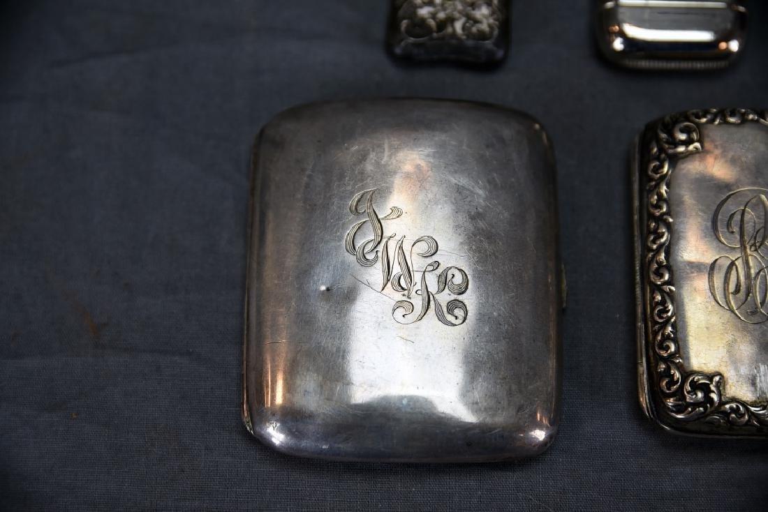 4 Sterling Cases, 2 Cigarette, 1 card, 1 Vesta - 2