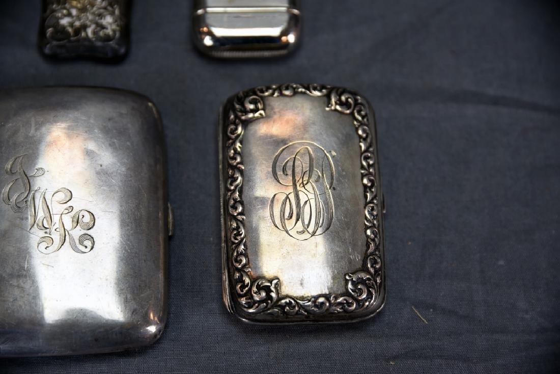 4 Sterling Cases, 2 Cigarette, 1 card, 1 Vesta - 3