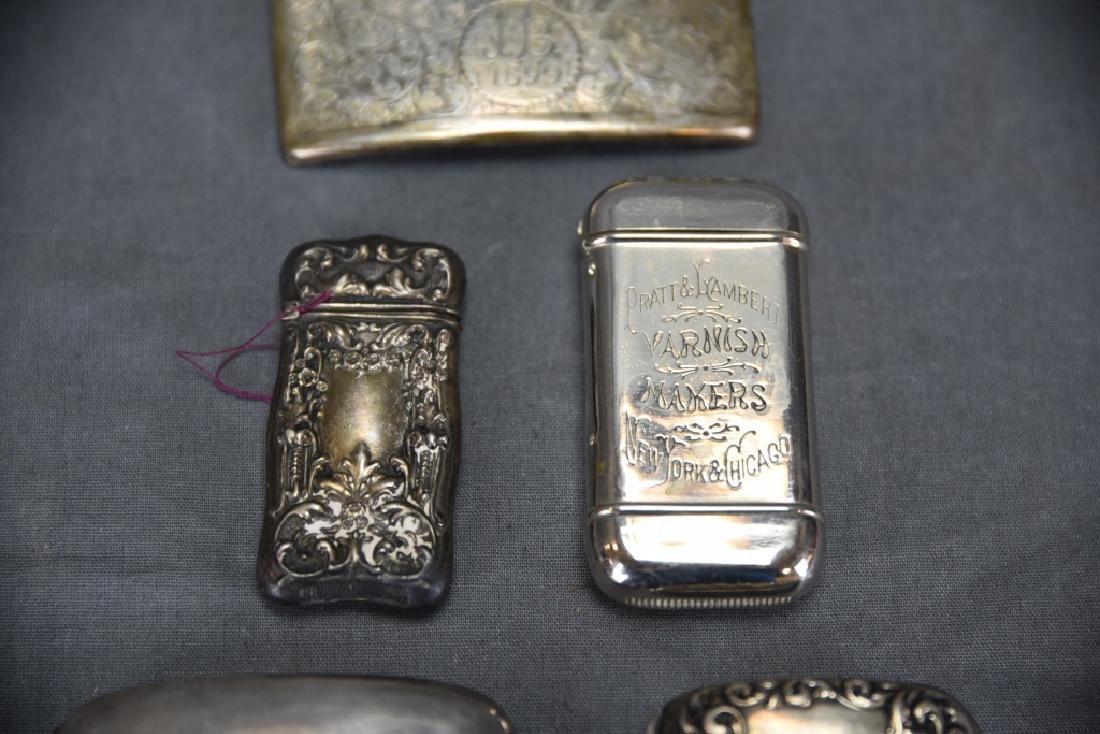 4 Sterling Cases, 2 Cigarette, 1 card, 1 Vesta - 4