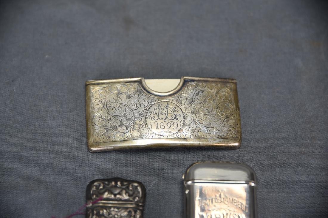 4 Sterling Cases, 2 Cigarette, 1 card, 1 Vesta - 5