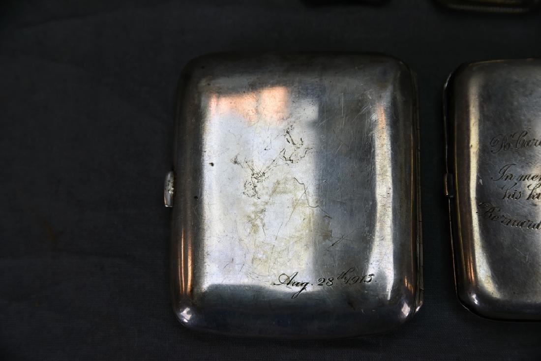 4 Sterling Cases, 2 Cigarette, 1 card, 1 Vesta - 6