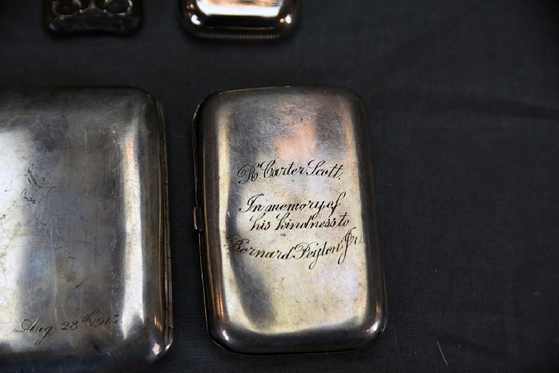 4 Sterling Cases, 2 Cigarette, 1 card, 1 Vesta - 7