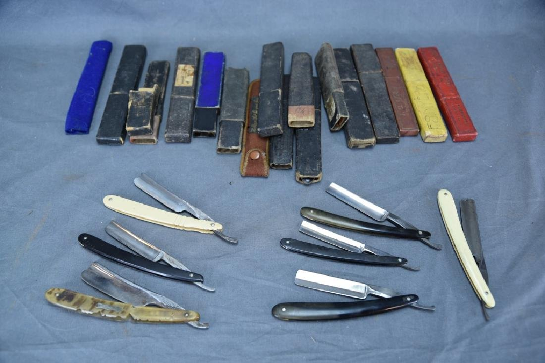 9 Straight Razors, Celluloid, Bone Handles, Boxes