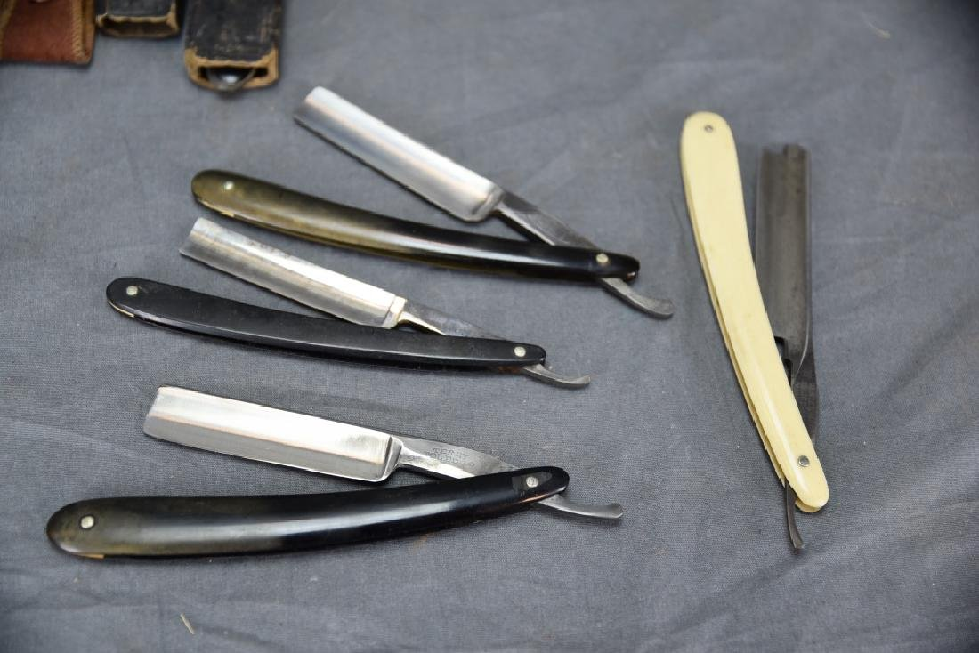 9 Straight Razors, Celluloid, Bone Handles, Boxes - 3