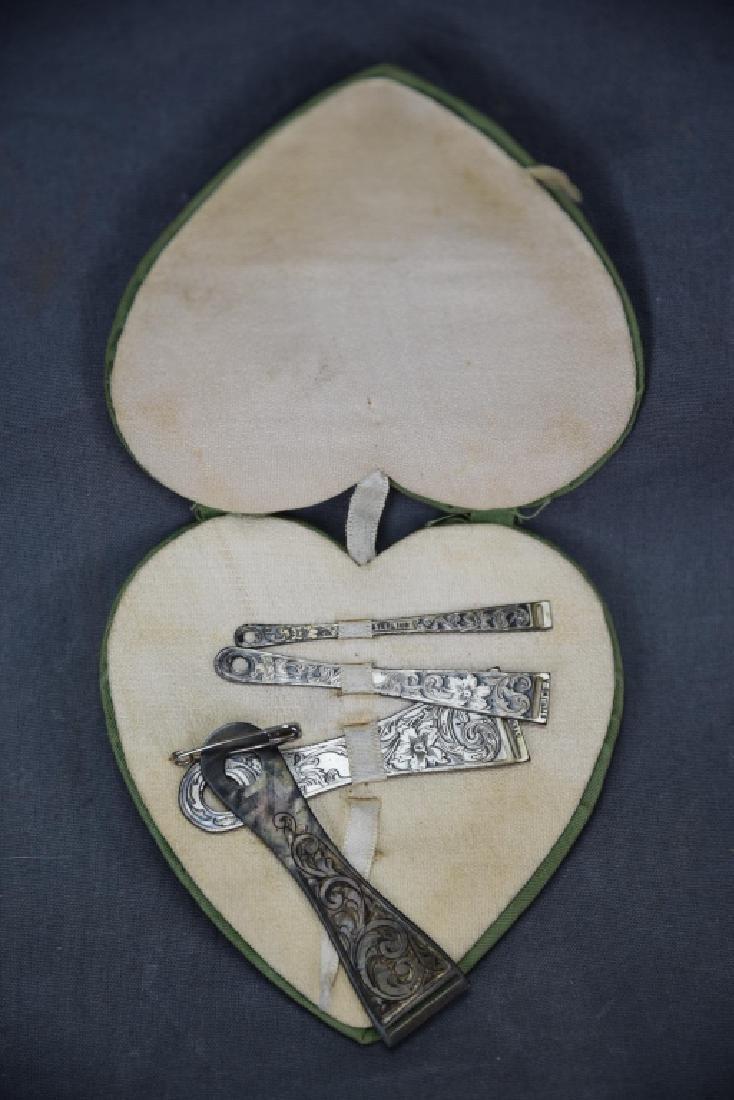Set of 4 Engraved Sterling Ribbon Bodkins
