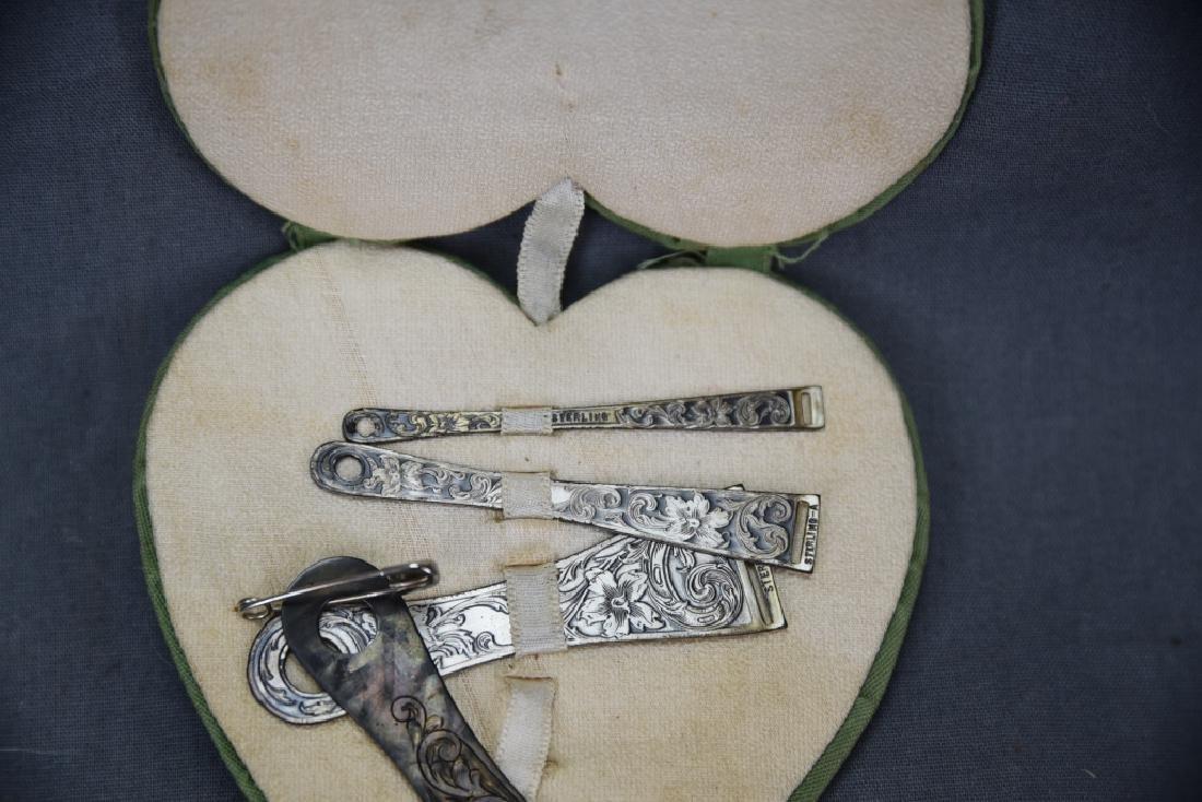 Set of 4 Engraved Sterling Ribbon Bodkins - 2