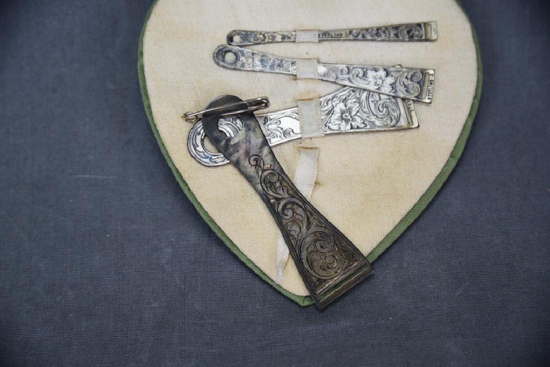 Set of 4 Engraved Sterling Ribbon Bodkins - 4