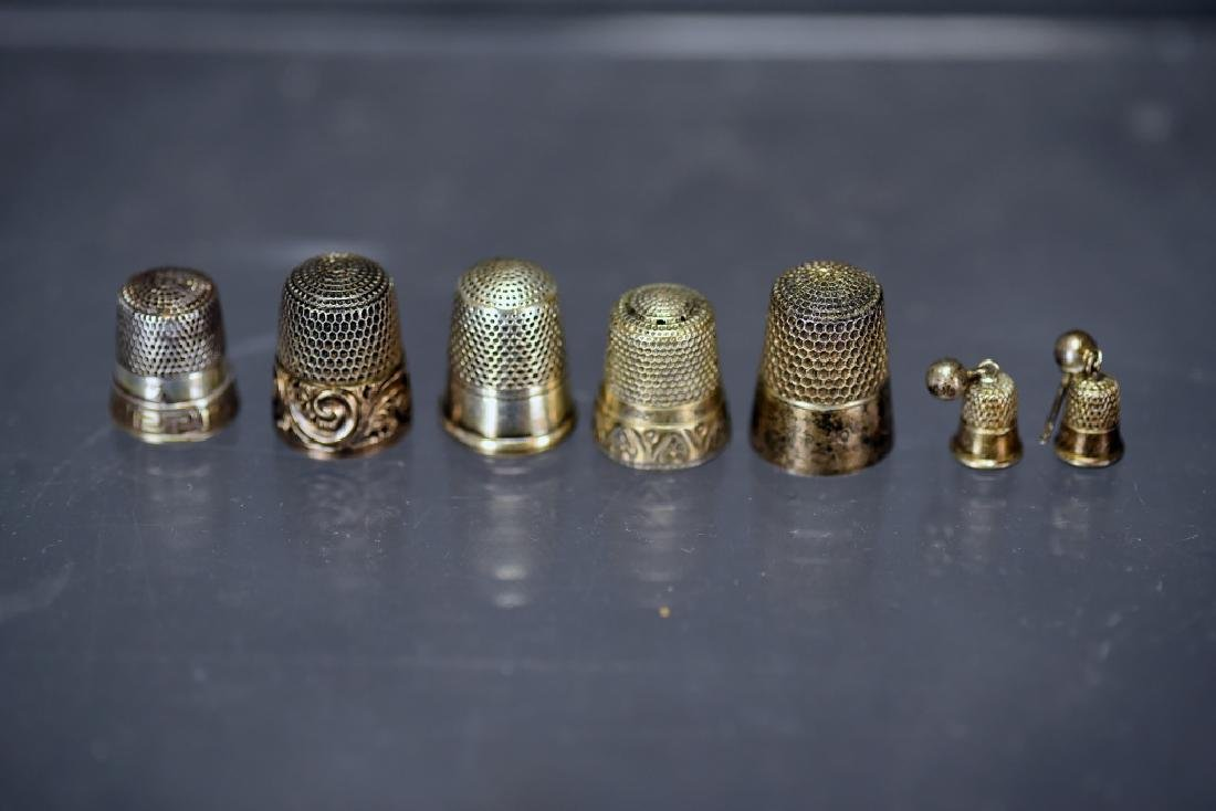 5 Sterling Silver Thimbles, Thimble Earrings