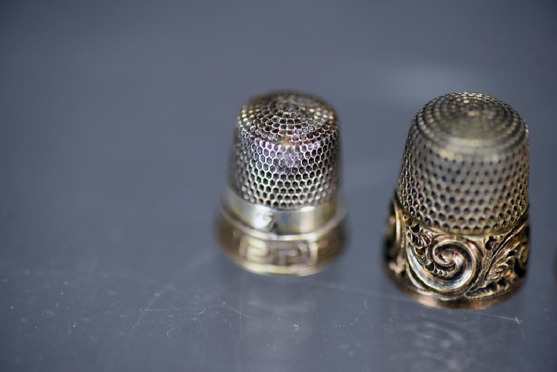 5 Sterling Silver Thimbles, Thimble Earrings - 2