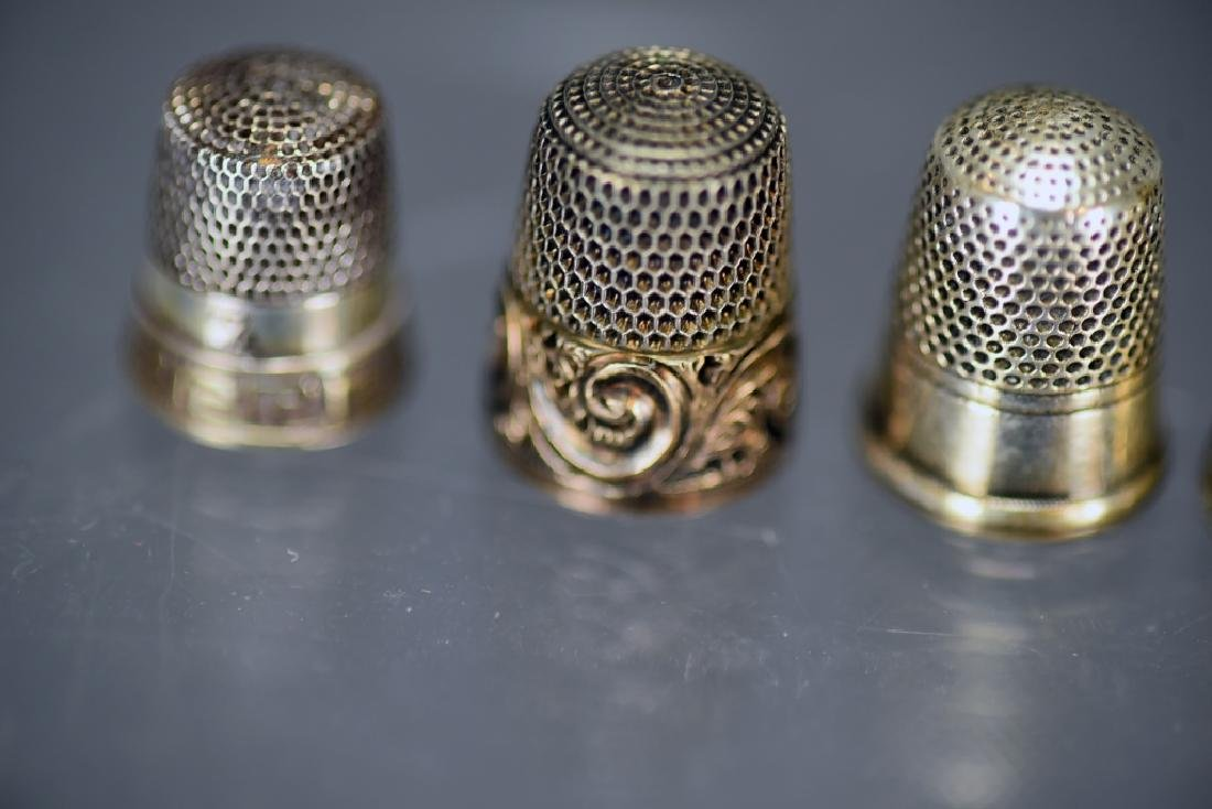 5 Sterling Silver Thimbles, Thimble Earrings - 3