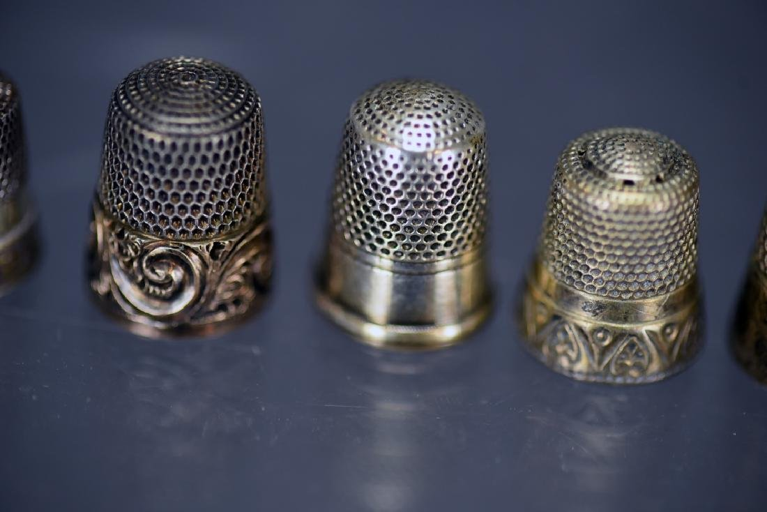 5 Sterling Silver Thimbles, Thimble Earrings - 4