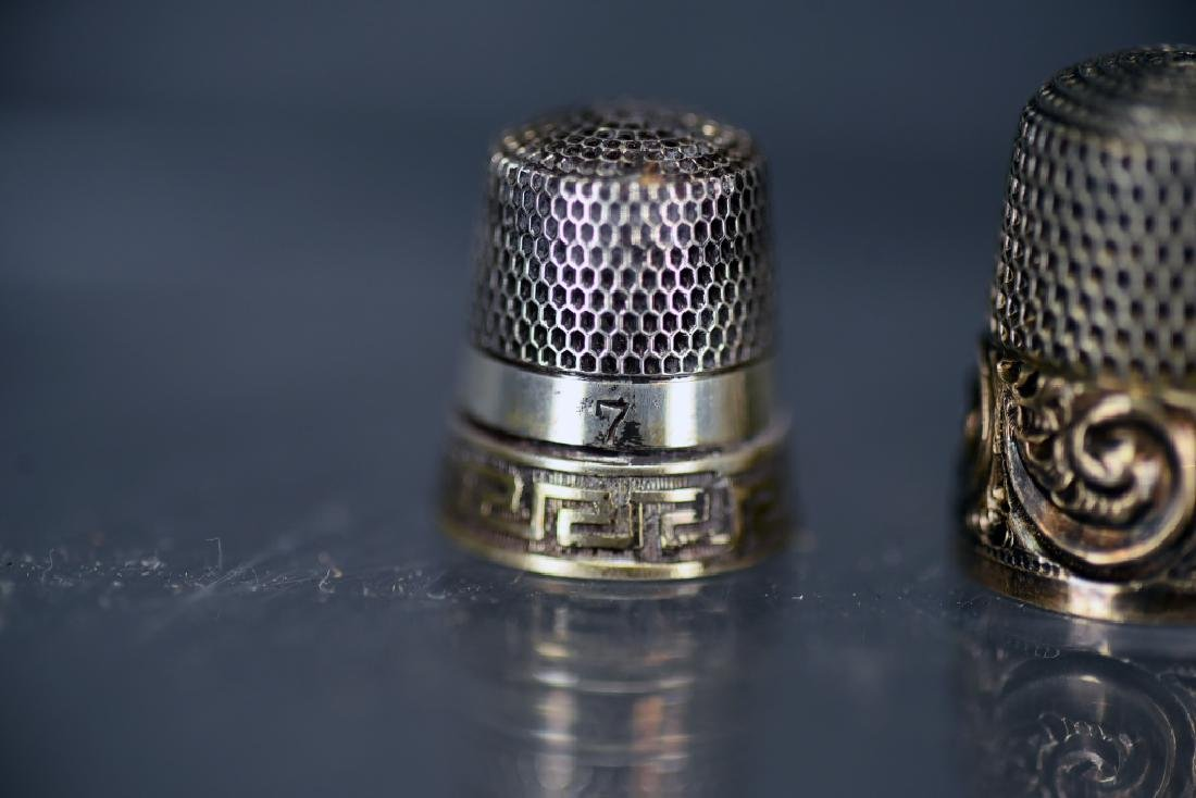 5 Sterling Silver Thimbles, Thimble Earrings - 8