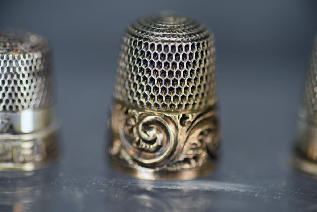 5 Sterling Silver Thimbles, Thimble Earrings - 9