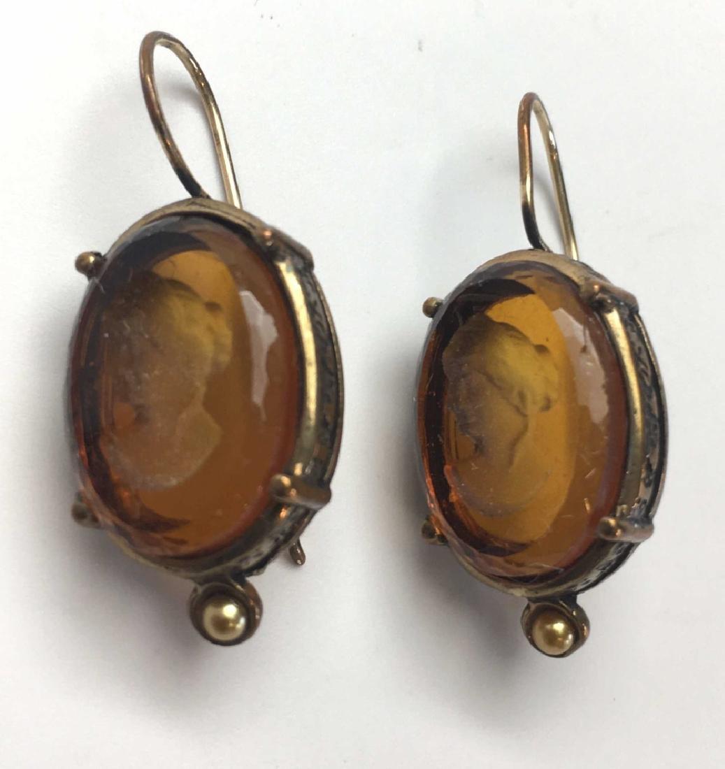 Extasia Amber Glass Intaglio Pierced Earrings