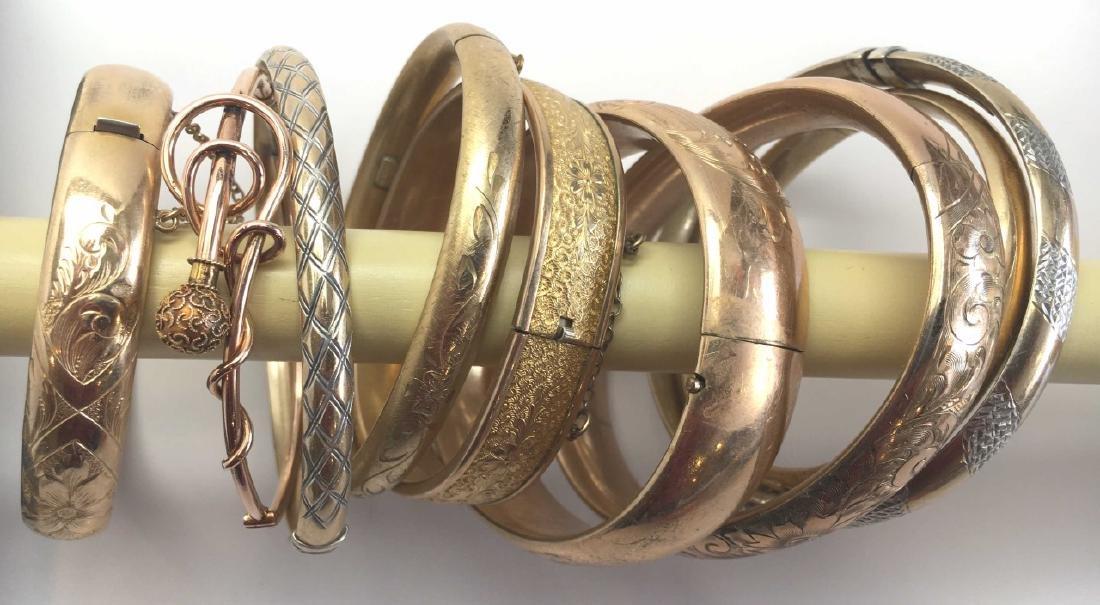 8 Victorian Gold Filled Hinged Bangle Bracelets