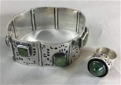 Modernist Sterling Silver, Jade Bracelet & Ring