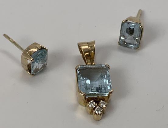 Aquamarine Earrings, Pendant, 18k Gold