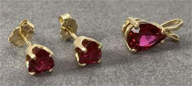 14k Ruby And Yellow Gold Earrings Pendent Set