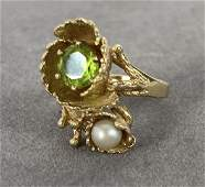 Pearl Peridot 14 K Yellow Gold Ring